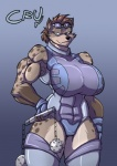 abs biceps big_breasts big_thighs breasts brown_hair clothing cru eyewear female gloves goggles hair hand_on_hip huge_breasts hyena jaeh leotard mace mammal muscles muscular_female short_hair solo standing thick_thighs weapon wide_hips   Rating: Safe  Score: 6  User: slydevious  Date: November 05, 2011