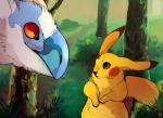 2014 absurd_res ambiguous_gender beak day detailed_background duo eye_contact feral forest fur grass hi_res latios legendary_pokémon mammal nature nintendo norisus outside pikachu pokémon rodent size_difference tree video_games whiskers yellow_fur