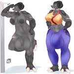 1:1 2020 abs alien alien_humanoid anthro areola balls big_balls big_breasts big_bulge big_penis black_hair breasts bulge cev clawed_toes claws clothed clothing duo erection facial_scar flaccid genitals grey_body gynomorph hair halo_(series) hi_res huge_bulge huge_penis humanoid intersex jiralhanae leaning_on_wall looking_at_viewer microsoft muscular muscular_gynomorph muscular_intersex nipples nude penis ponytail scar smile standing tall thick_thighs tusks vein video_games xbox_game_studios yellow_eyes
