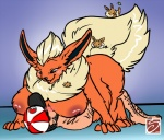 anthro anthrofied beard big_breasts blush breasts chubby digitigrade eevee eeveelution facial_hair flareon hat human interspecies lying nintendo on_back pokémon poképhilia saphine size_difference video_games   Rating: Explicit  Score: 8  User: chdgs  Date: March 02, 2014