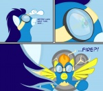 2011 blue_hair comic dialogue english_text equine eyewear female feral friendship_is_magic goggles hair hi_res male mammal my_little_pony orange_hair pegasus simple_background skinsuit soarin_(mlp) spitfire_(mlp) taharon text wings wonderbolts_(mlp)   Rating: Safe  Score: 2  User: 133710|2|)  Date: September 02, 2011