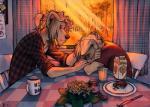 "anthro canine clothing crying dog duo food inside male mammal oomizuao sad sitting table tears  Rating: Safe Score: 3 User: JulliusBlackblood Date: July 01, 2015"""