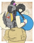 anthro backpack bedroom_eyes big_breasts big_butt black_hair blue_eyes boosterpang bracelet breasts butt canada cargo_shorts clothing female fur hair hairband half-closed_eyes hiking huge_breasts huge_butt hyper hyper_breasts jewelry ponytail shirt shorts side_boob solo thick_thighs voluptuous waving white_fur wide_hips   Rating: Questionable  Score: 4  User: mosh_grizzly  Date: May 24, 2010