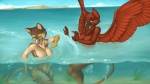 16:9 2011 anthro avian beak blue_eyes breasts bubble casual_nudity cloud digitigrade doirn duo feathered_wings feathers female fur green_eyes gryphon hoot nude one_eye_closed open_mouth outside partially_submerged playful red_feathers red_fur seaweed sky sparra splash swimming water wings