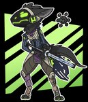 aggressive alpha_channel ambiguous_gender angry anthro armor ascot border breastplate cape chibi claws clothed clothing dark_fur destiny_2 duo epaulettes fur ghost_(destiny) girdle gloves green_background green_claws green_eyes green_mouth gridwear gun handwear hard_light_construct hi_res izanagi's_burden_(destiny) knee_pads leg_armor leg_wrap legwear loincloth machine madkuzya neck_floof paws protogen ranged_weapon robot screen screen_face shoulder_pads simple_background solo_focus torrent_amador transparent_border visor weapon white_outline