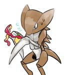 ambiguous_gender apple blade_arm feral food fruit kabutops nintendo pokémon simple_background solo sweat video_games white_background