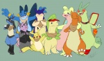 alternate_color amphibian anthro arm_around_shoulders bandanna bayleef blush bottomless canine charizard clothed clothing collar cute_fangs eyes_closed eyewear fan_character featureless_crotch flygon front_view glasses goodra group grumpig kaptcha lucario male mammal membranous_wings mostly_nude mustelid nintendo open_mouth pikachu pokémon porcine quadruped rodent scalie semi-anthro smile standing swampert tachi_(kaptcha) typhlosion vest video_games waving wingsRating: SafeScore: 6User: CirceusDate: July 29, 2016