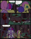 2013 bandage black_eye blood broken comic dead death decapitation dialogue english_text equine female feral fluttershy_(mlp) friendship_is_magic fur gore grass green_eyes grotesque_death group hair hat horn horse mammal mane metal_(artist) multicolored_hair my_little_pony pegasus pony purple_fur purple_hair speech_bubble tears text tree twilight_sparkle_(mlp) two_tone_hair unicorn wings yellow_fur   Rating: Questionable  Score: 3  User: DigitGreen  Date: June 29, 2013