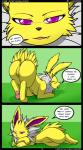 2014 absurd_res anus butt comic dialogue eeveelution english_text female feral fur hi_res jolteon kuroodod looking_at_viewer nintendo open_mouth paws pokémon pussy solo text tongue video_games yellow_fur  Rating: Explicit Score: 65 User: Mienshao Date: August 27, 2014