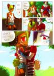 anthro apple bear blush cin_(character) clothed clothing comic dialogue eye_contact eye_patch eyewear freckles fruit hail_(character) hug jotaku male male/male mammal red_eyes shirt shorts standing tank_top text   Rating: Safe  Score: 0  User: Knotty_Curls  Date: May 13, 2015
