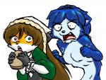 angry anthro blue_fur blue_hair brown_hair can't_enjoy canine clothed clothing dress duo food fox fur furseiseki green_eyes hair headgear heterochromia krystal long_hair looking_at_viewer mammal nintendo nude open_mouth orange_fur plain_background red_eyes sandwich_(food) star_fox tuft unknown_artist video_games white_background   Rating: Safe  Score: 3  User: remigius  Date: March 19, 2015