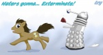 blue_eyes brown_hair dalek doctor_who doctor_whooves_(mlp) earth_pony english_text equine exterminate feral friendship_is_magic hair hi_res horse male mammal my_little_pony pony solo text unknown_artist