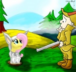 blue_eyes chaosdrop costume crossover cute duo elmer_fudd equine female feral fluttershy_(mlp) friendship_is_magic fursuit gun hair holding holding_weapon horse human lagomorph looney_tunes male mammal my_little_pony pink_hair pony rabbit ranged_weapon shotgun tree warner_brothers weapon wood   Rating: Safe  Score: 4  User: Miss_Fluttershy  Date: June 12, 2011