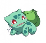 2012 ambiguous_gender bulbasaur cute green_body huiro nintendo pokémon red_eyes simple_background solo video_games white_background