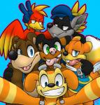 2015 anthro avian banjo-kazooie banjo_(banjo-kazooie) beak bear bird breegull brown_fur canine clothed clothing conker conker's_bad_fur_day daxter digital_media_(artwork) eyewear feathered_wings feathers female fur goggles hi_res jak_and_daxter kazooie looking_at_viewer male mammal mustelid ottsel rodent simple_background sly_cooper sly_cooper_(series) smile squirrel teeth video_games wings xiamtheferret