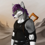 anthro belt biceps blue_eyes canine clothing dog fur grey_fur gun hair handgun husky lester lesterhusky long_hair looking_at_viewer male mammal muscular pecs pistol purple_hair purple_nose ranged_weapon shirt solaxe_(artist) solo tank_top teeth warrior weapon