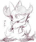 ambiguous_gender blush braixen canine cute fennec fox japanese_text kiriya kneeling mammal monochrome nintendo open_mouth pokémon simple_background sketch solo stick text video_games  Rating: Safe Score: 1 User: DeltaFlame Date: September 24, 2015