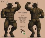 2016 abs anthro armpits balls biceps big_penis bovine brown_fur butt erection feran_blackridge flexing fur hooves horn humanoid_penis male mammal model_sheet muscular nipples nude pecs penis rov solo spell900  Rating: Explicit Score: 8 User: Numeroth Date: April 27, 2016