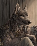 2015 anthro beads black_fur blue_eyes bottle canine claws clothing ear_piercing fur grayson_reed grey_fur headshot_portrait jacket looking_at_viewer male mammal necklace pawpads paws piercing portrait rukis shaded shoulder_guards smile solo tribal white_fur wolf  Rating: Safe Score: 17 User: TheGreatWolfgang Date: May 04, 2015""