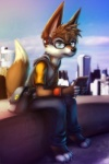 2012 anthro bag barefoot black_nose blue_eyes brown_fur brown_hair canid canine cellphone clothed clothing detailed_background digital_media_(artwork) eyewear fox full-length_portrait fully_clothed fur glasses hair headphones hi_res hoodie looking_at_viewer male mammal messenger_bag on_wall phone pointy_ears portrait sitting skyscraper solo thanshuhai white_fur wristband