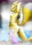 2014 anthro armpits arms_behind_head back bandai barefoot black_nose breasts butt canine digimon female fox fur high_heels kneeling looking_away mammal markings mist neck_tuft nude pose reiser renamon shadow shiny shower side_boob solo water wet white_fur yellow_fur   Rating: Questionable  Score: 2  User: jaguaryou  Date: March 03, 2015
