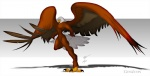 amber_eyes anthro avian bald_eagle beak bird brown_feathers claws eagle feathered_wings feathers gunzcon male nude solo white_feathers wings