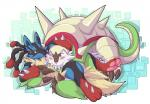 ambiguous_gender beard black_fur blue_fur blush canine chesnaught cute cyber_zai duo facial_hair fur hug lucario lying mammal mega_evolution mega_lucario nintendo on_back on_front one_eye_closed pokémon red_eyes red_fur smile spikes sweat tan_fur video_games wink   Rating: Safe  Score: 5  User: DeltaFlame  Date: April 14, 2015