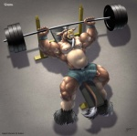 anthro armpits balls beard beige_hair beige_skin belt bench biceps big_muscles big_penis black_hair blue_eyes bodybuilder bodybuilding bovine braford brown_fur brown_skin bulge cattle chubby clenched_teeth clothed clothing erection facial_hair flexing fur grasp grey_background gym hair half-dressed happy holding hooves horn huge_muscles humanoid_penis lift looking_up lying male mammal musclegut muscles nipples on_back pecs penis plain_background pose powerlifting sam_(braford) shadow shiny short_hair shorts smile solo spread_legs spreading sweat teeth topless uncut vein weightlifting weights white_fur white_hair wristband   Rating: Explicit  Score: 9  User: WiiFitTrainer  Date: February 14, 2013