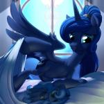 2015 absurd_res bed digital_media_(artwork) doll equine female feral friendship_is_magic hi_res horn mammal my_little_pony nipples plushie princess_luna_(mlp) smile solo stoic5 teats window winged_unicorn wings   Rating: Questionable  Score: 32  User: Numeroth  Date: February 26, 2015