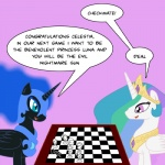applejack_(mlp) behind_the_scenes challenge_accepted checkerboard checkmate chess duo earth_pony equine eye_contact female feral fluttershy_(mlp) friendship_is_magic gaming horn horse kitsune_the_fox mammal my_little_pony nightmare_moon_(mlp) pegasus pinkie_pie_(mlp) pony princess princess_celestia_(mlp) rainbow_dash_(mlp) rarity_(mlp) royalty smile twilight_sparkle_(mlp) unicorn winged_unicorn wings  Rating: Safe Score: 2 User: Princess_Celestia Date: June 09, 2011
