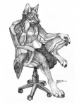 2014 anthro bracelet canine chair clothing collaboration collar coyox jewelry loincloth looking_down male mammal monochrome office_chair qzurr sitting solo thoughtful traditional_media_(artwork) wolf   Rating: Safe  Score: 9  User: Kaik  Date: January 06, 2015