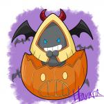 2017 >:d bat bat_wings blue_eyes cosplay costume digital_drawing_(artwork) digital_media_(artwork) evil_grin food fruit halloween harara hi_res holidays horn jack-o'-lantern mammal membranous_wings nintendo pokémon pokémon_(species) pumpkin purple_background signature simple_background smile snorunt solo_focus video_games white_background wings