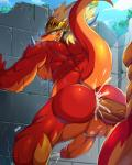 2018 alternate_version_at_source anal anal_penetration anthro armor backsack balls biceps blonde_hair blush bna_v5 butt circumcised cum digital_media_(artwork) dragon drum_(buddyfight) drum_bunker_dragon fangs fucked_silly future_card_buddyfight hair helmet horn humanoid_penis male male/male muscular muscular_male nude pecs penetration penis perineum presenting presenting_hindquarters scalie sweatRating: ExplicitScore: 5User: MairoDate: February 21, 2018
