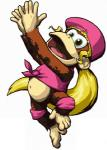 """5_toes barefoot blonde_hair brown_fur clothing dixie_kong donkey_kong_(series) female fur green_eyes hair hat jewelry long_hair mammal monkey navel nintendo open_mouth plain_background ponytail primate solo toes tongue unknown_artist video_games  Rating: Safe Score: 1 User: Cαnε751 Date: April 22, 2015"""""""