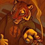 anthro cigarette drawstring drugs dutch_angle feline foreshortening high-angle_shot hoodie male mammal marijuana orange_theme shirt_logo smile smoke solo ssirrus tiger warm_colors whiskers   Rating: Safe  Score: 4  User: Dashy_Deluxe  Date: June 20, 2014