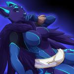 2015 anthro big_breasts blue_eyes blue_fur blue_nose breasts cat cleavage clothed clothing elbow_gloves feline female fur gloves glowing lapres mammal navel purple_fur sitting skimpy smile solo thick_thighs tight_clothing  Rating: Safe Score: 14 User: Fur_in_the_dark Date: July 29, 2015