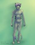 balls biscuits_(artist) cat feline flaccid green_eyes grin hair humanoid_penis male mammal nude penis purple_hair solo uncut  Rating: Explicit Score: 4 User: anthro000 Date: June 08, 2011