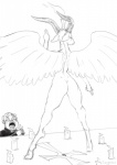 baphomet caprine cross demon eyewear feathered_wings feathers female goat horn human male mammal monochrome priest wide_hips wings zaggatar  Rating: Explicit Score: 3 User: chdgs Date: May 09, 2015""