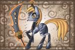 2013 armor blonde_hair clothed clothing cutie_mark derpy_hooves_(mlp) digital_media_(artwork) equine female feral food friendship_is_magic fur grey_feathers grey_fur hair magic mammal muffin my_little_pony pegasus raised_leg raptor007 solo sword tongue tongue_out weapon wings yellow_eyes yellow_fur   Rating: Safe  Score: 3  User: GameManiac  Date: March 23, 2015