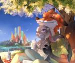 2016 anthro barefoot beverage canine claws clothing cute detailed_background disney drinking duo eyes_closed female food fox fur gloves_(marking) grey_fur judy_hopps lagomorph long_ears male mammal markings nick_wilde one_eye_closed orange_fur outside pants picnic predator/prey purple_eyes rabbit semcool shirt simple_background sitting size_difference smile starbucks wink zootopia  Rating: Safe Score: 37 User: Vallizo Date: April 23, 2016