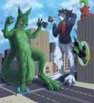 2015 ambiguous_gender anthro blue_eyes blue_hair bottomless building city claws clothed clothing crossover cup dragon duncan english_text featureless_crotch fur green_fur green_hair group hair hoodie horn how_to_train_your_dragon kangaroo lying macro male mammal marsupial navel night_fury nude on_front open_mouth outside pawpads paws portal portal_(series) red_scales rooth scales scalie shirt sign size_difference sky smile spectrumshift spikes sweater text toe_claws tongue toothless torn_clothing valve video_games white_fur yellow_eyes  Rating: Safe Score: -3 User: GameManiac Date: December 09, 2015