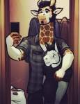 2015 anthro bgn clothed clothing derrick_(bgn) donkey duo equine giraffe hair male mammal miguel phone selfie  Rating: Safe Score: 4 User: deadmen2 Date: May 04, 2015