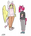 2015 alternate_universe anthro anthrofied clothed clothing duo earth_pony equine female fluttershy_(mlp) friendship_is_magic hair horse mammal my_little_pony pegasus pink_hair pinkie_pie_(mlp) pony siden simple_background standing sweater white_background wings  Rating: Safe Score: 11 User: lemongrab Date: August 21, 2015