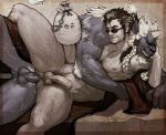 alcohol anal anal_penetration anthro auron beverage black_hair blue_fur body_hair braided_hair chest_hair duo feline final_fantasy final_fantasy_x food fur gourd hair human human_on_anthro humanoid_penis interspecies kimahri lying male male/male mammal muscular nipples on_side penetration penis pockyrumz precum pubes ronso sex smile uncut vein video_games white_hair  Rating: Explicit Score: 5 User: slyroon Date: October 11, 2015