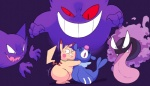2016 eroborus gastly gengar haunter nintendo pikachu pokémon pokémon_(species) popplio scared video_games