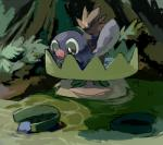 ambiguous_gender beak duo feral forest hair lotad ludicolo nintendo outside pokémon pokémon_(species) poliwag sketch tree video_games yata