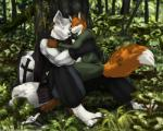 4_fingers 4_toes 5_fingers absurd_res anthro barefoot belt biceps black_nose blade bush canine cape claws clothing couple cross cuddling digital_media_(artwork) duo eyes_closed flower forest fox fur furryratchet gloves grass happy hi_res hood jacket kneeling knight light male male/male mammal manly medieval melee_weapon muscles nature orange_fur outside pants pawpads paws plant pocket raised_arm shadow shield shiny sitting skirt smile sunlight sword toe_claws toes tree warrior weapon white_fur wolf wood  Rating: Safe Score: 25 User: WiiFitTrainer Date: September 23, 2013