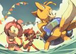 2014 amy_rose anthro beach_ball bikini blush butt canine clothing edtropolis female fiona_fox fox group hedgehog inner_tube male mammal miles_prower sea sonic_(series) swimsuit water  Rating: Questionable Score: 12 User: SlayerBVC Date: July 10, 2015