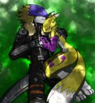 beelzemon black_nose chest_tuft clothed clothing cuddling digimon eyes_closed facial_markings fur gloves jacket markings renamon sleeping takao-hikari tuft white_fur   Rating: Safe  Score: 1  User: ChestFox  Date: March 23, 2014