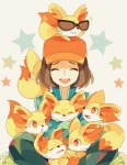 ambiguous_gender brown_hair calem canine cute eyes_closed eyewear fennekin feral fur group hair happy hat human joycejiang male mammal nintendo pokémon pokémon_(species) red_eyes simple_background sitting sleeping smile sunglasses video_games white_background yellow_fur